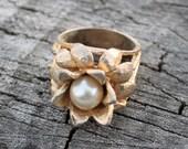 Vintage Gold Flower Pearl Ring