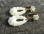 Vintage White Floral Celluloid Earrings