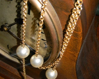 Vintage Gold and Pearl Layering Chain