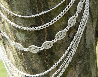 Vintage White Enamel Multi Layer Necklace