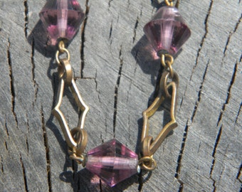 The Power of Purple - Vintage Art Deco Brass and Purple Glass Necklace
