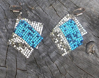 Disco Queen - Vintage Two Toned Chain Mail Earrings
