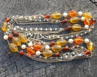 Vintage Glass Bead Necklace-Fall Foliage