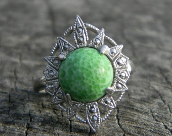 Vintage Marcasite and Green Agate Stone Ring