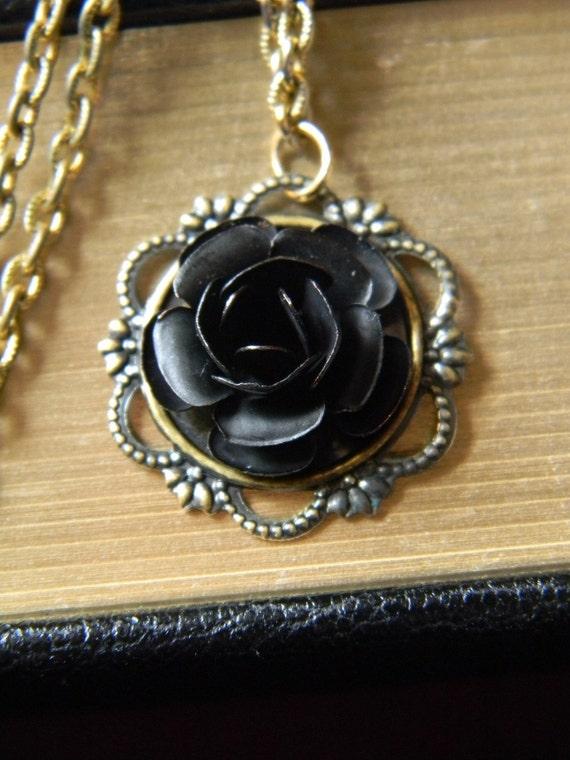 Vintage Black Rose - Vintage Black Enamel Rose Set on Gold Pendent