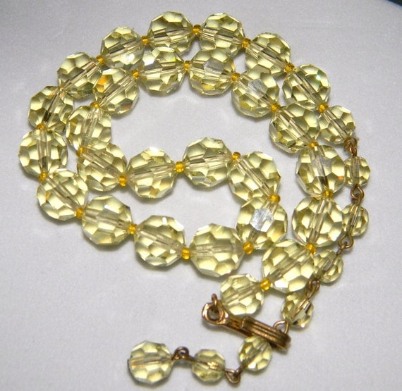 Lemoncello Crystal - Vintage Yellow Crystal Necklace