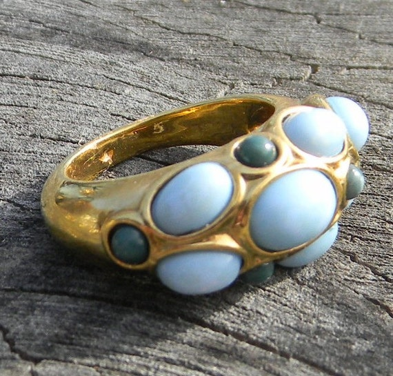 Vintage Ring with Light Blue and Green Bubbles