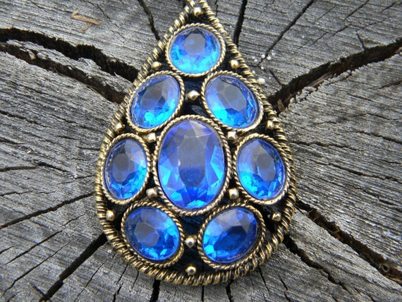 Vintage Blue Glass Pendent and Necklace