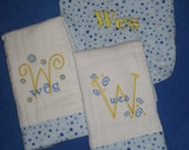 Baby Set- 2 Personalized Burp Cloths and 1 Baby Bib
