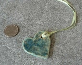 Heart Necklace in blue with ribbon