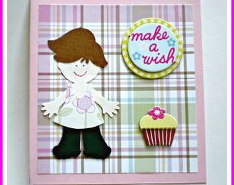 Birthday Card - Make a Wish, kids birthday card, birthday card for a little girl