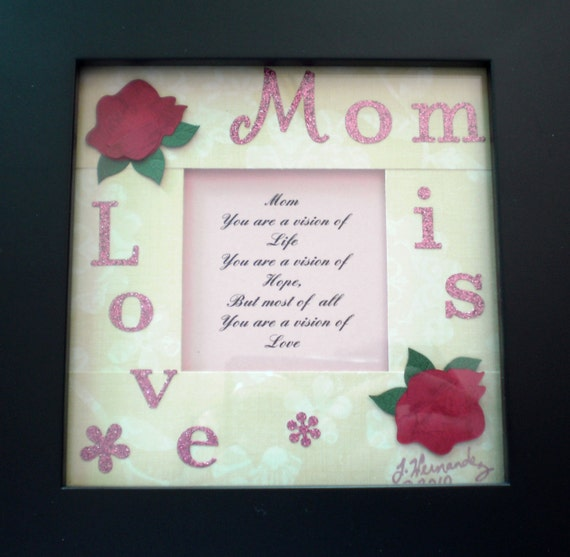 Custom Photo Frame  Mom is Love, table decor, for mom on mother's day, simple poem embellished photo frame, gift idea for moms