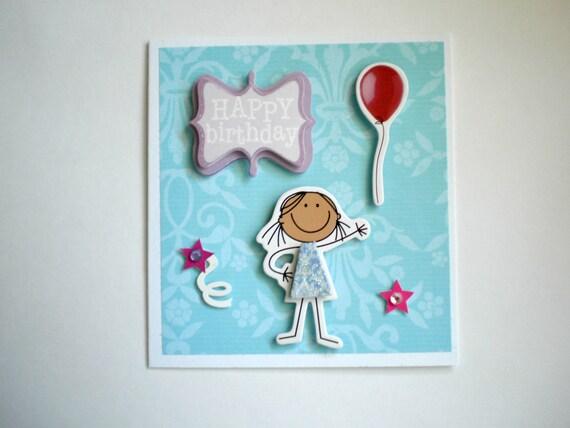Birthday Card, little girls birthday card, handmade birthday card, let's party birthday card