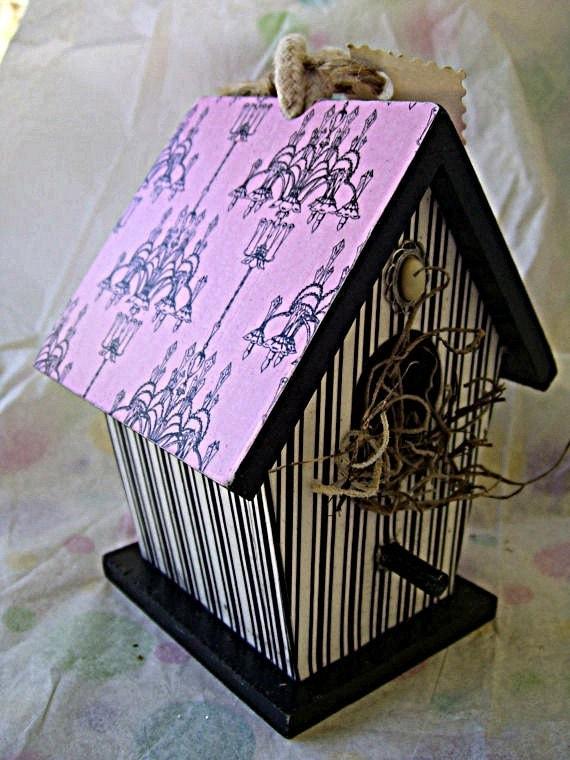Elegant Chandelier Decoupaged Mini Birdhouse