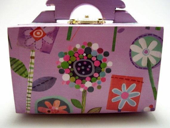 Whimsical Flowers Decoupaged Trinket Box with Handle