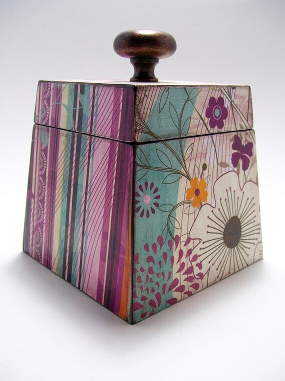 Whimsical Flowers and Stripes Decoupaged Box