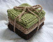 Crocheted Cotton Dishcloths. Set of 3. WOODLANDS