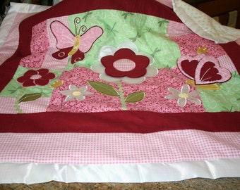 Baby Blanket Patchwork Quilt w/ Appliqued Flowers & Butterflies - Cotton Batting