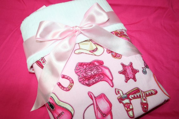 Large COWGIRL UP White Minky and Pink Cotton Blanket - Perfect in Pink for your little Cowgirl