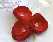 3pcs Red hair flowers with pearls - Flower hair clips, bobby pins