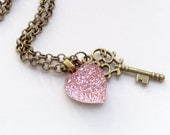 SALE - Pink crystal heart and key necklace
