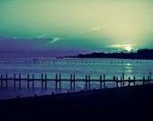 wall art, home decor, Fine Art Print - blue, sunset, ocean, water, thunderstorms, docks  - Blue Sunset