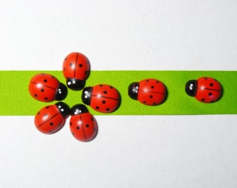 Hand painted 12 Wood Ladybug Craft Ornament 19x13mm
