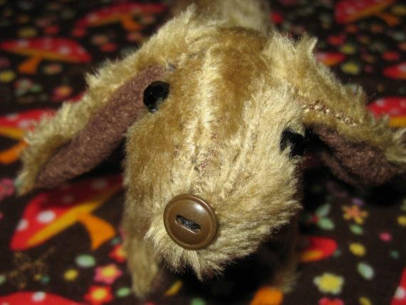 Bruno - Dachshund wrist arm rest stuffed animal hot dog Toy brown faux fur