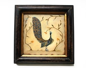 Gold Framed Bird Art Peacock in Foliage Ready to Ship Oil Painting on square 8x8 panel board Gold WoodFrame
