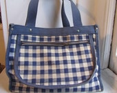 Small blue gingham purse