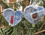 Earring - Heart-Shaped, Recycled Levi's Denim - Upcycled