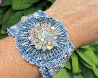 Cuff Bracelet - Statement Piece - Hand Beaded Recycled Denim  with Vintage Crystal Centerpiece, OOAK