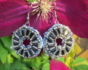 Earrings -Dangle - Hand-Beaded,  Recycled Denim - Black and Silver