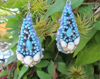 Earrings - Turquoise Beads on Recycled Denim  and Vintage Accents - OOAK
