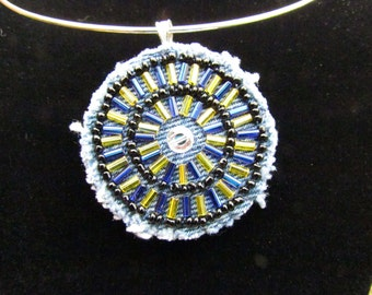 Medallion Pendant with Vintage Rhinestone- Blue, Black, and Gold - Hand-Beaded, OOAK Necklace