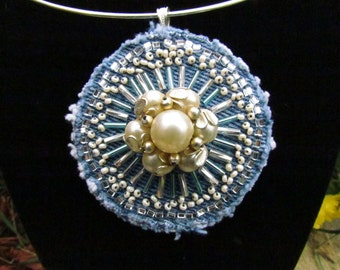 Pendant Necklace - Medallion of Hand-Beaded, Upcycled Denim with Vintage Faux Pearl Earring
