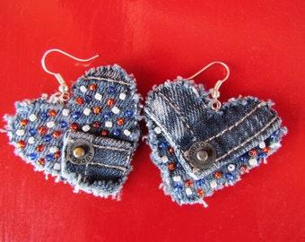 Earring - Heart-Shaped, Recycled Designer Hudson Brand Denim  - Upcycled - Hand Beaded