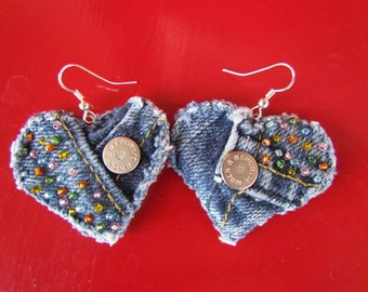 Earring - Heart-Shaped, Recycled Designer Rock and Republic Brand Denim - Hand Beaded