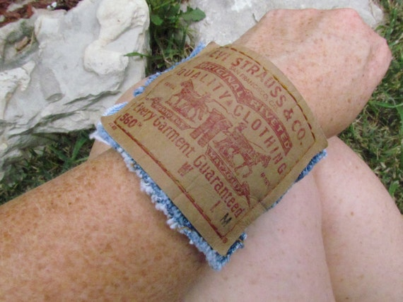 Bracelet - Cuff - Recycled Levi's Denim with Snap Closure