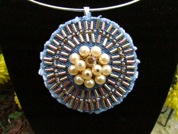 Pendant Necklace - Medallion of Hand-Beaded, Upcycled Denim with Vintage Faux Pearl Earring - Copper and Gold