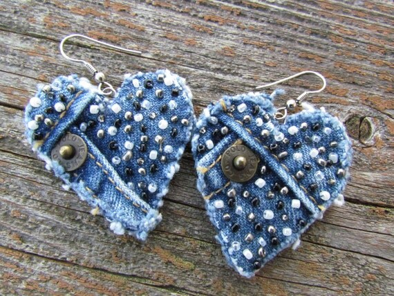 Earring - Heart-Shaped, Recycled Polo Jeans Denim - Hand-Beaded - Upcycled