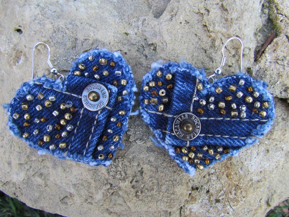 Heart Dangle Earrings-  Upcycled Roca Wear Denim - Hand-beaded - Brown, Gold and Silver Beads