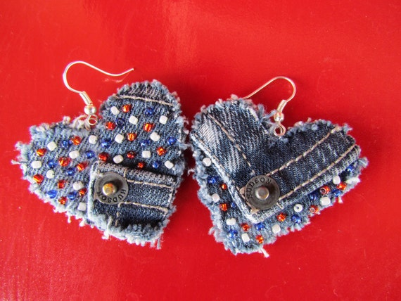 Earring - Heart-Shaped, Recycled Designer Hudson Brand Denim  - Upcycled - Hand Beaded