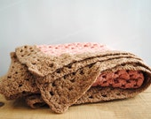 Vintage Afghan Lap Blanket - Small Pink Crochet Throw