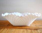 RESERVED Vintage Milk Glass Bowl - Vintage Diamond Pattern Candy Dish