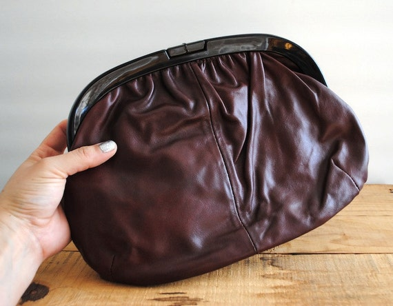 Vintage Clutch - Leather 1980's Purse