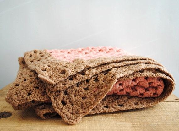 Vintage Afghan Lap Blanket - Small Pink Crochet Throw