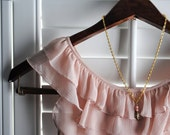 Gold Feather Necklace Leaf Pink Beads Simple Sweet - Feather Leaf Pink Bead Necklace