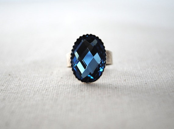 Statement Ring - Blue Glass Stone on Silver Tone Adjustable Ring