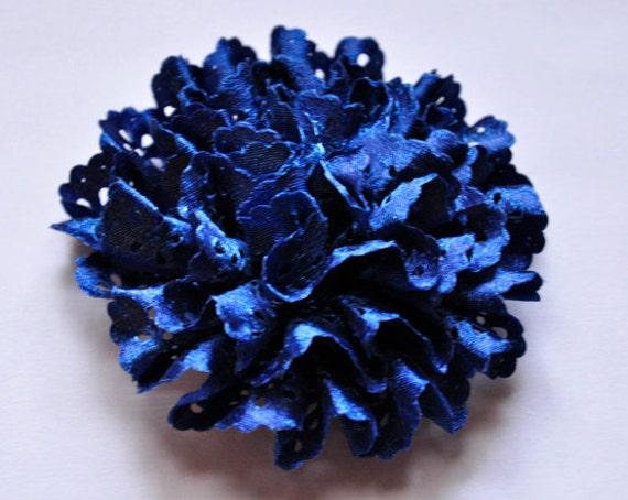 Royal Blue Satin Eyelet fabric rosette flower